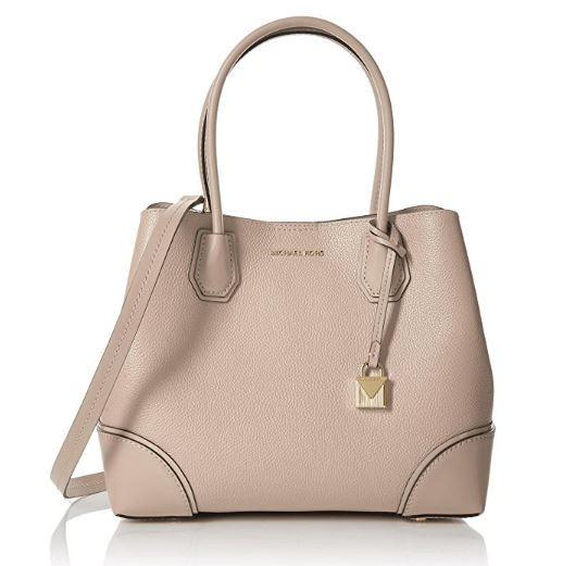 861e6d3257f0 ... Michael Kors Mercer Medium Leather Satchel - Soft Pink 30H7GZ5T6A-187.  Image 1