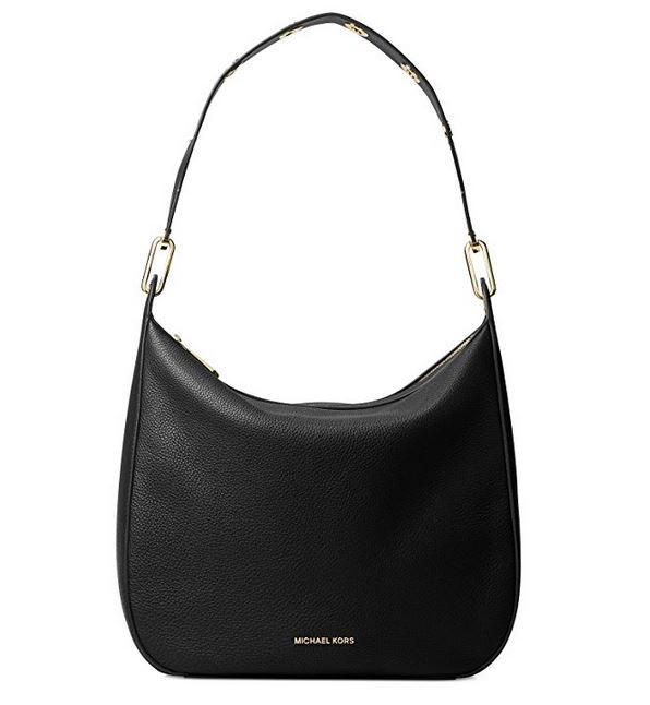 Michael Michael Kors Raven Large Leather Shoulder Bag Black ... 4b8e4dd788a88