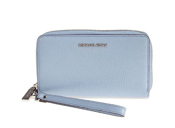 9d8e2a5fd23b9 ... MICHAEL Michael Kors Mercer Large Leather Smartphone Wristlet - Pale  Blue 32F6GM9E3L-487. Image 1