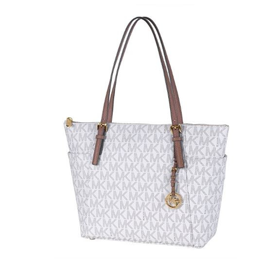 fc57efa44937 Michael Kors Jet Set Item Large East West Signature Top Zip PVC Tote ( Vanilla/Acorn) 35S8GTTT9B-149 …