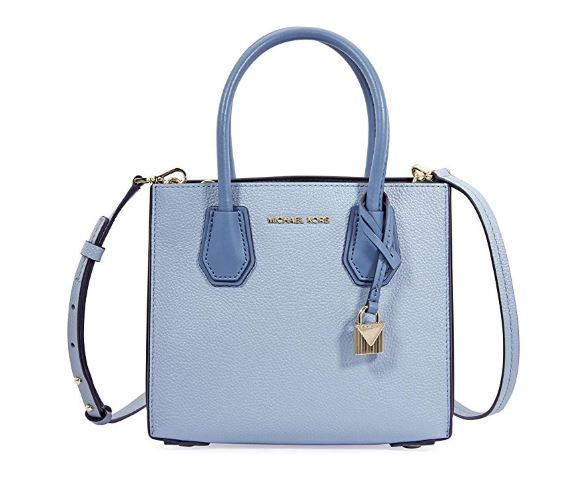 77caa044cdc2f ... Michael Kors Mercer Medium Pebbled Leather Crossbody Bag- Pale Blue …  Image 1