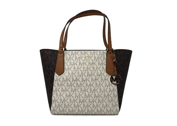 117d2841819f ... Michael Kors Kimberly LG Bonded Signature Tote Bag in Vanilla/Brown/ Acorn. Image 1