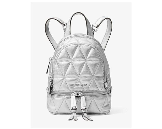 b782984c4f13 ... MICHAEL Michael Kors Rhea Mini Metallic Quilted Leather Backpack in  Silver 30S8MEZBOK-040. Image 1