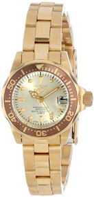 Invicta Women's 12527 Pro-Diver 18k Gold Ion-Plated Stainless Steel and Cha...