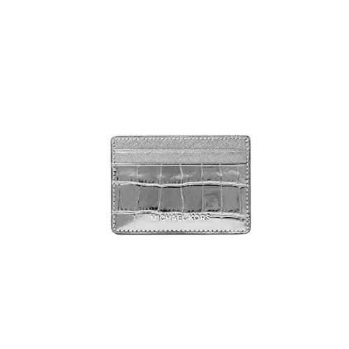 ea78510a275b ... Michael Kors Jet Set Travel Metallic Embossed-Leather - Card Case -  Gunmetal - 32F7MF6D0E-041. Image 1