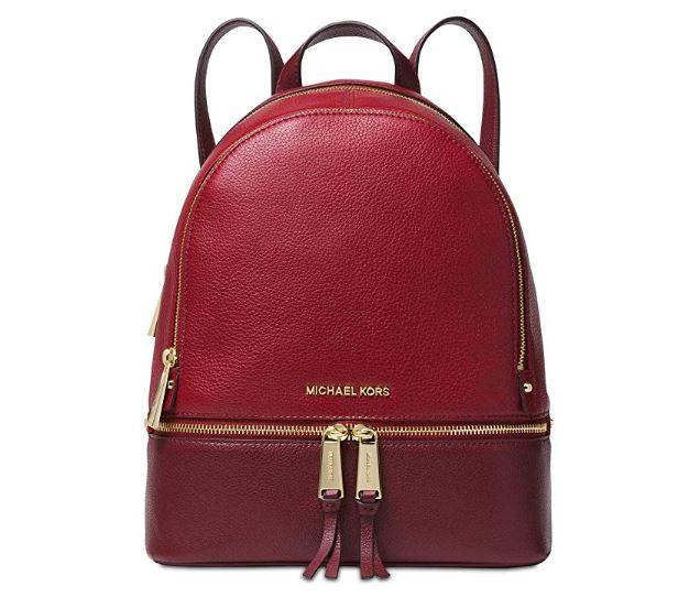 aa70daa9af1a ... MICHAEL Michael Kors Rhea Small Leather Backpack (Maroon) 30S5GEZB1L-550.  Image 1