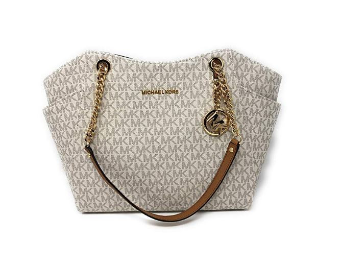 84a83a6beed5 ... Michael Kors Jet Set Travel 2018 Large Chain Shoulder Tote Bag  35F8GTVE7B (Vanilla PVC). Image 1