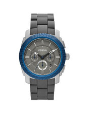 Fossil Men's Machine Chronograph Watch FS4659 With Blue/Grey Dial, Case And Bracelet