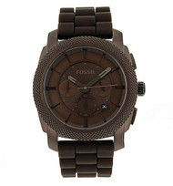 Fossil Men's Quartz Stainless Steel and Silicone Casual Watch, Color:Brown (Model: FS4702)