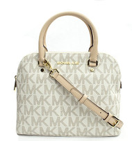 Michael Kors Cindy Medium Dome Satchel, Color Vanilla with Gold Hardware