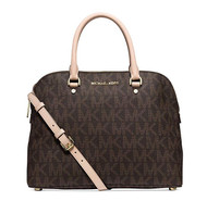 Michael Kors Cindy medium Saffiano Leather Satchel signature BROWN …