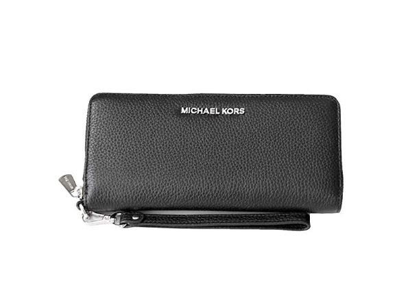 61b3cd3f395e ... Michael Kors Jet Set Travel Continental Zip Around Leather Wallet  Wristlet (Black/Silver/Cement) … Image 1. Image 1. Click to enlarge