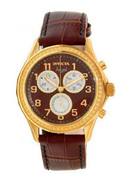 Invicta Angel Multi-Function Brown Dial Brown Leather Ladies Watch 12989 …