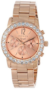Invicta Women's 14158 Angel 18k Rose Gold Ion-Plated Stainless Steel and Aquamarine Watch