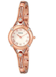GUESS Women's U0135L3 Petite Embellished Crystal Rose Gold-Tone Watch