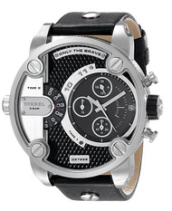Diesel Men's DZ7256 Little Daddy Stainless Steel Black Leather Watch
