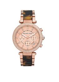 Michael Kors Women's MK5538 Parker Tortoise & Rose Gold-Tone Watch