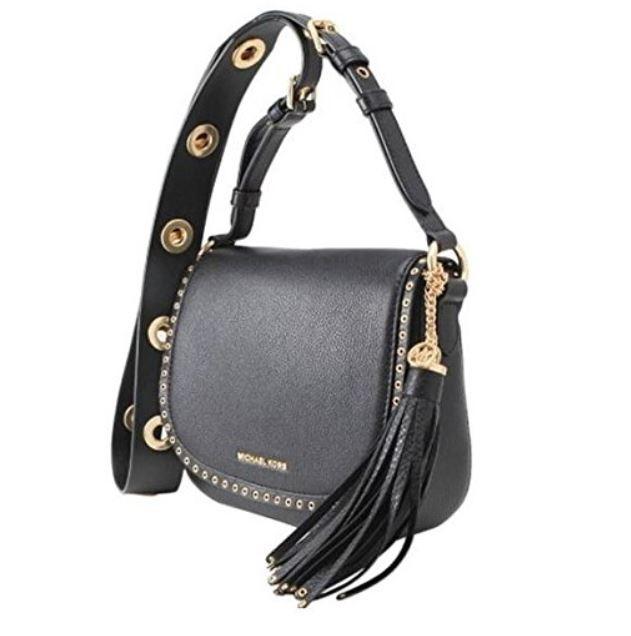 18bdf7c1def4 ... Michael Michael Kors Brooklyn Medium Leather Saddle Bag, Black  30F6ABNM8L-001. Image 1