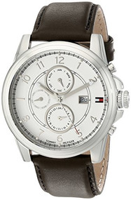 Tommy Hilfiger  Men's 1710294 Stainless Steel and Leather Strap White Dial Wa...