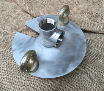 40mm stainless steel bore cap with tee outlet