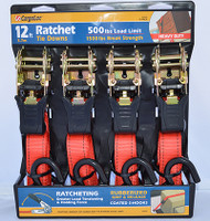 "Heavy Duty 1"" x12' Ratchet Tie Down w/ S Hooks - 4 Piece Set"
