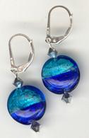 Cobalt and aqua silver foil lined lentil earrings