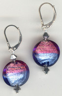 Rubino and baby blue silver foil lined lentil earrings