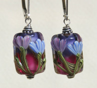purple and blue floral lampworked rectangular earrings