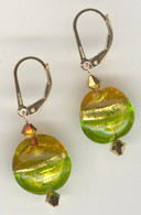 Amber and grass green gold foil lined lentil earrings
