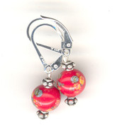 "Red ""millefiori"" glass earrings"