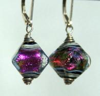 Purple dichroic lampworked crystal shaped earrings