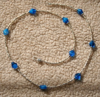 Aqua Rhomboid and silver seed bead necklace