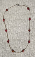 Red Rhomboid and silver seed bead necklace