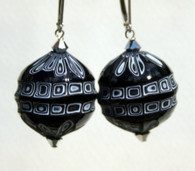 Black and white blown and sculpted spherical earrings