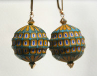Mustard yellow  with light aqua, light blue and white blown and sculpted spherical earrings