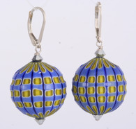 Light blue and yellow blown and sculpted spherical earrings