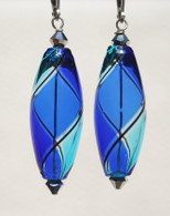 Cobalt and aqua olive shaped yin yang design Murano glass earrings