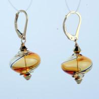 Onion shaped honey and amber yin yang design Murano glass earrings