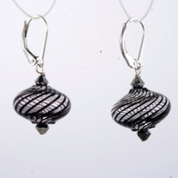 Onion shaped black and clear spiral Murano glass earrings