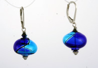 Onion shaped cobalt and aqua yin yang design Murano glass earrings