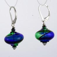 Onion shaped emerald and cobalt aqua yin yang design Murano glass earrings