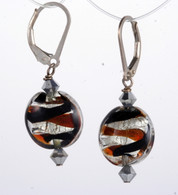 Brown and amber ribbon silver foil lined lentil earrings