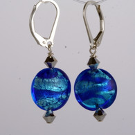 Aqua and cobalt ribbon silver foil lined lentil earrings
