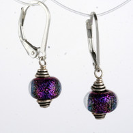 Mini purple dichroic lampworked spheres