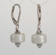 Creamy white luster lampworked earrings