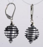 Black spiral and silver foil lined Venetian glass spherical earrings