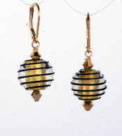 Black spiral and gold foil lined Venetian glass spherical earrings