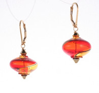 Onion shaped red and amber yin yang design Murano glass earrings