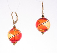 Round red and amber yin yang design Murano glass earrings