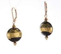 Black and light olive exposed gold foil lined lentil earrings
